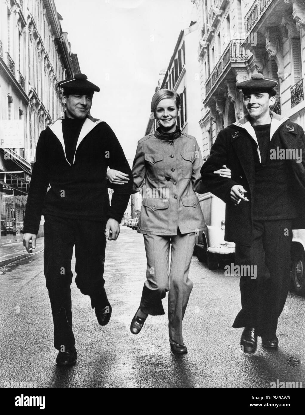 Twiggy Lawson witha Naval escort in Paris, January 1967 File Reference #  31955_143THA - Stock