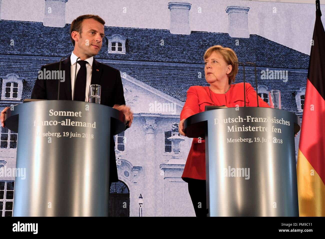 Berlin, Germany. 19th June, 2018. President of the French Republic Emmanuel Jean-Michel Frédéric Macron holds a press conference together with German Chancellor Angela Merkel. Credit: Lorena De La Cuesta/SOPA Images/ZUMA Wire/Alamy Live News Stock Photo