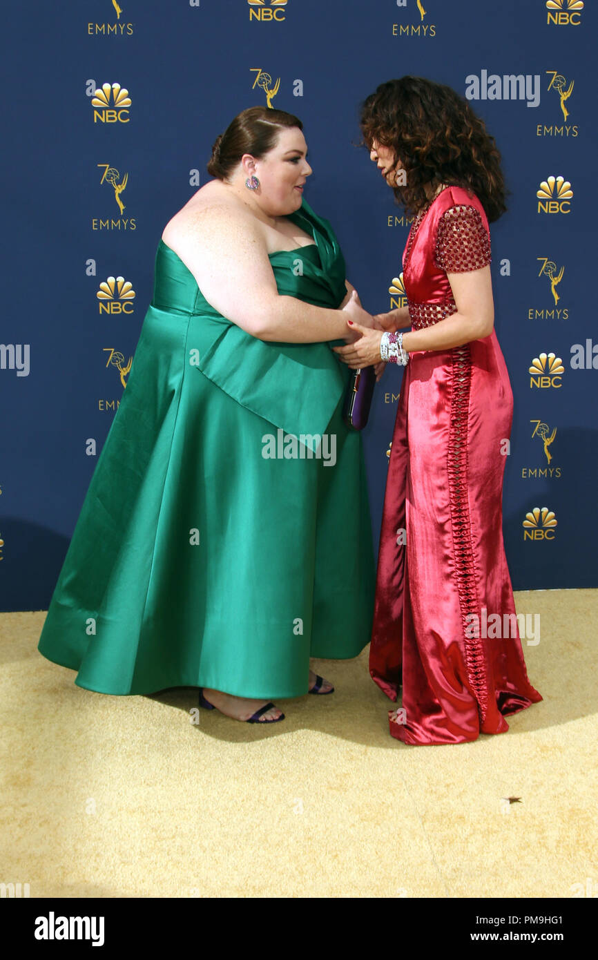 Los Angeles, California, USA. 17th Sep, 2018. 17 September 2018 - Los Angles, California - Chrissy Metz, Sandra Oh. 70th Primetime Emmy Awards held at Microsoft Theater L.A. LIVE. Photo Credit: Faye Sadou/AdMedia Credit: Faye Sadou/AdMedia/ZUMA Wire/Alamy Live News Stock Photo