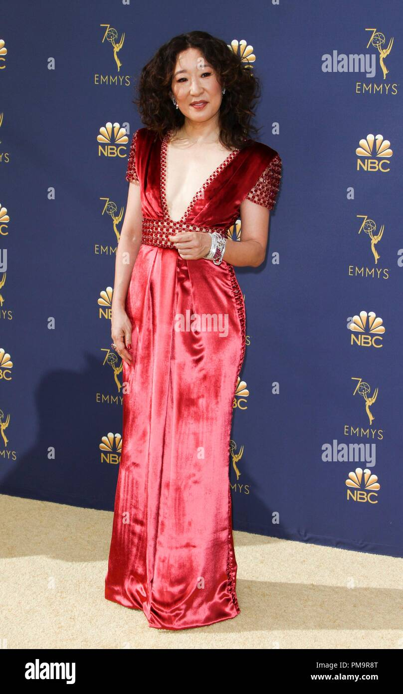 Sandra Oh at arrivals for 70th Primetime Emmy Awards 2018 - ARRIVALS, Microsoft Theater, Los Angeles, CA September 17, 2018. Photo By: Elizabeth Goodenough/Everett Collection Stock Photo