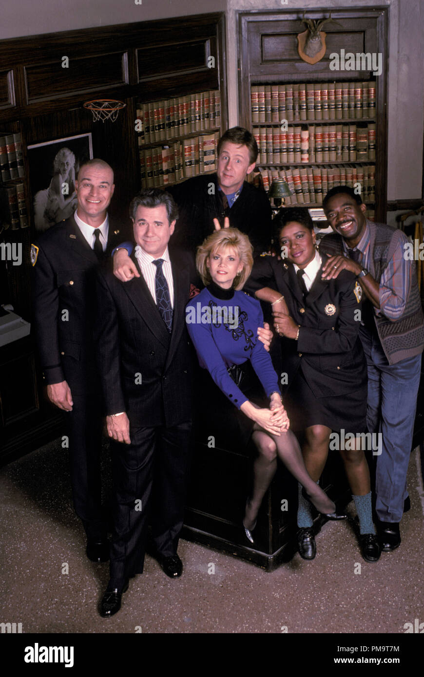 Studio Publicity Still from 'Night Court' Richard Moll, Harry Anderson, John Larroquette, Markie Post, Marsha Warfield, Charles Robinson  1988     All Rights Reserved   File Reference # 31694143THA  For Editorial Use Only - Stock Image