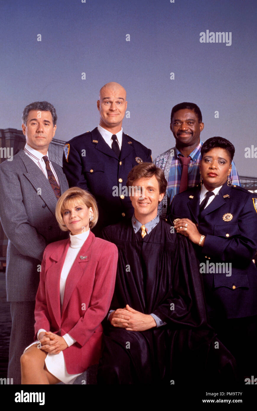 Studio Publicity Still from 'Night Court' John Larroquette, Richard Moll, Charles Robinson, Markie Post, Harry Anderson, Marsha Warfield 1988   All Rights Reserved   File Reference # 31694149THA  For Editorial Use Only - Stock Image