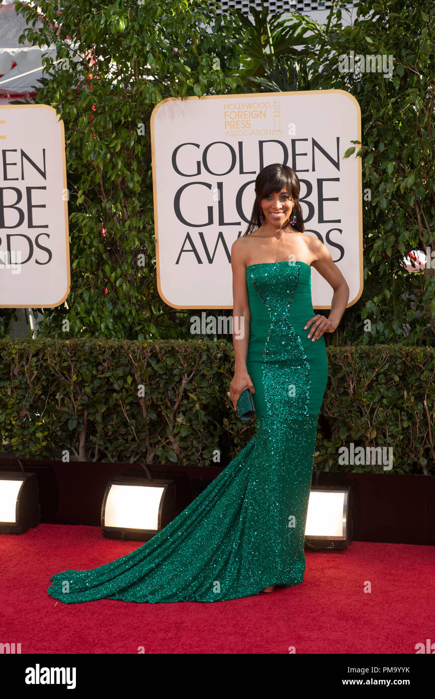 TV personality Shaun Robinson attends the 70th Annual Golden Globe Awards at the Beverly Hilton in Beverly Hills, CA on Sunday, January 13, 2013. - Stock Image