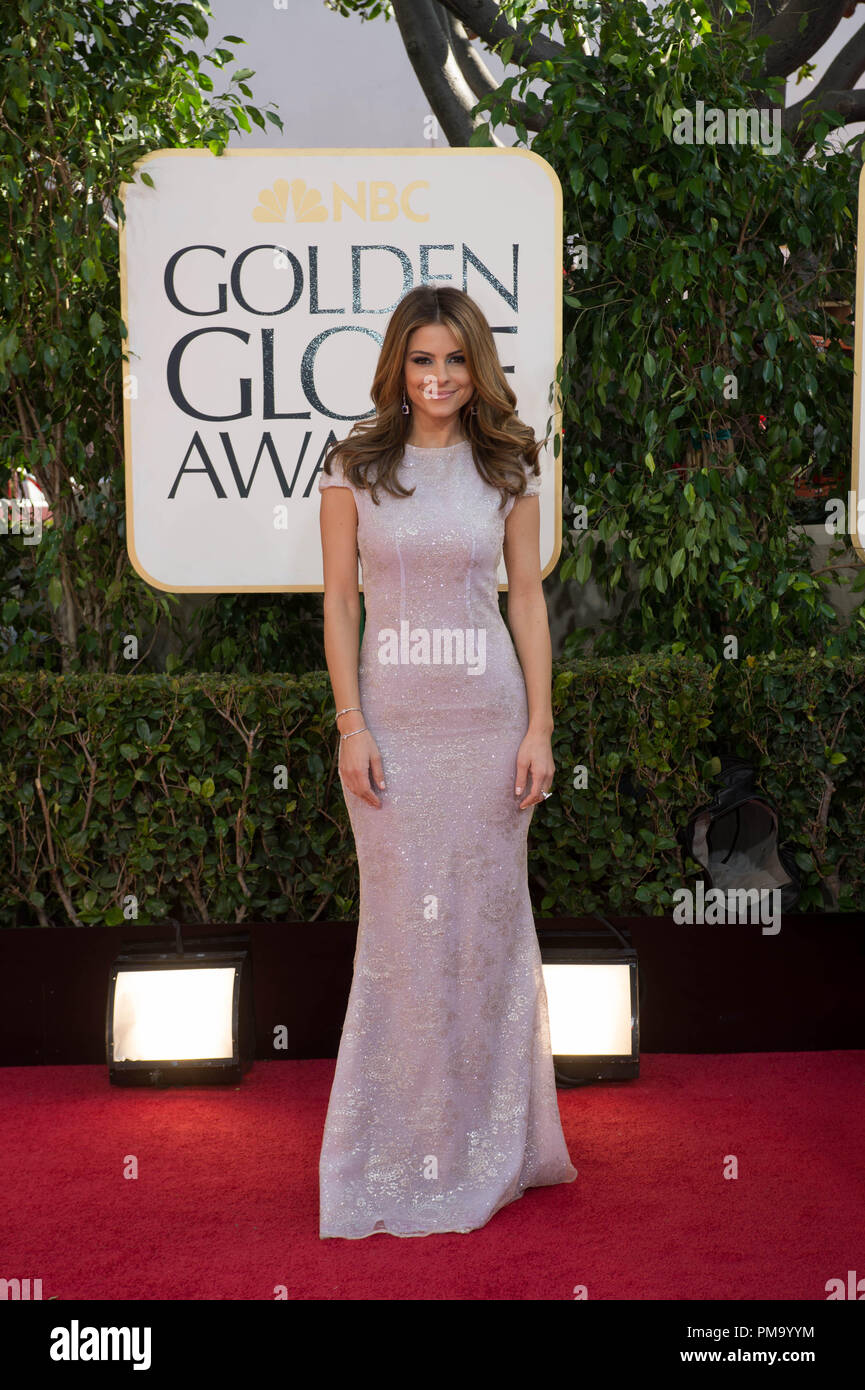 TV personality Maria Menounos attends the 70th Annual Golden Globe Awards at the Beverly Hilton in Beverly Hills, CA on Sunday, January 13, 2013. - Stock Image