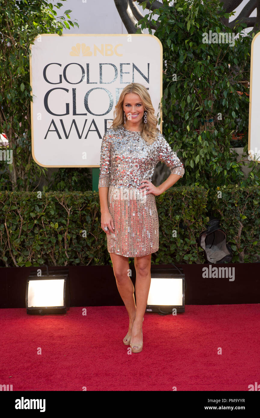 TV personality Brooke Anderson attends the 70th Annual Golden Globes Award at the Beverly Hilton in Beverly Hills, CA on Sunday, January 13, 2013. - Stock Image