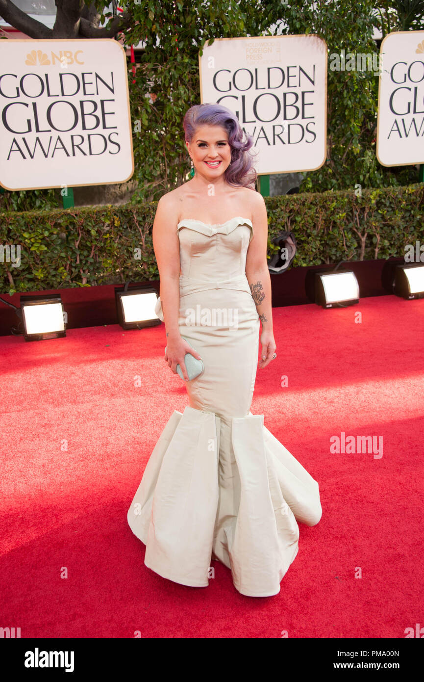 TV personality Kelly Osbourne attends the 70th Annual Golden Globe Awards at the Beverly Hilton in Beverly Hills, CA on Sunday, January 13, 2013. - Stock Image