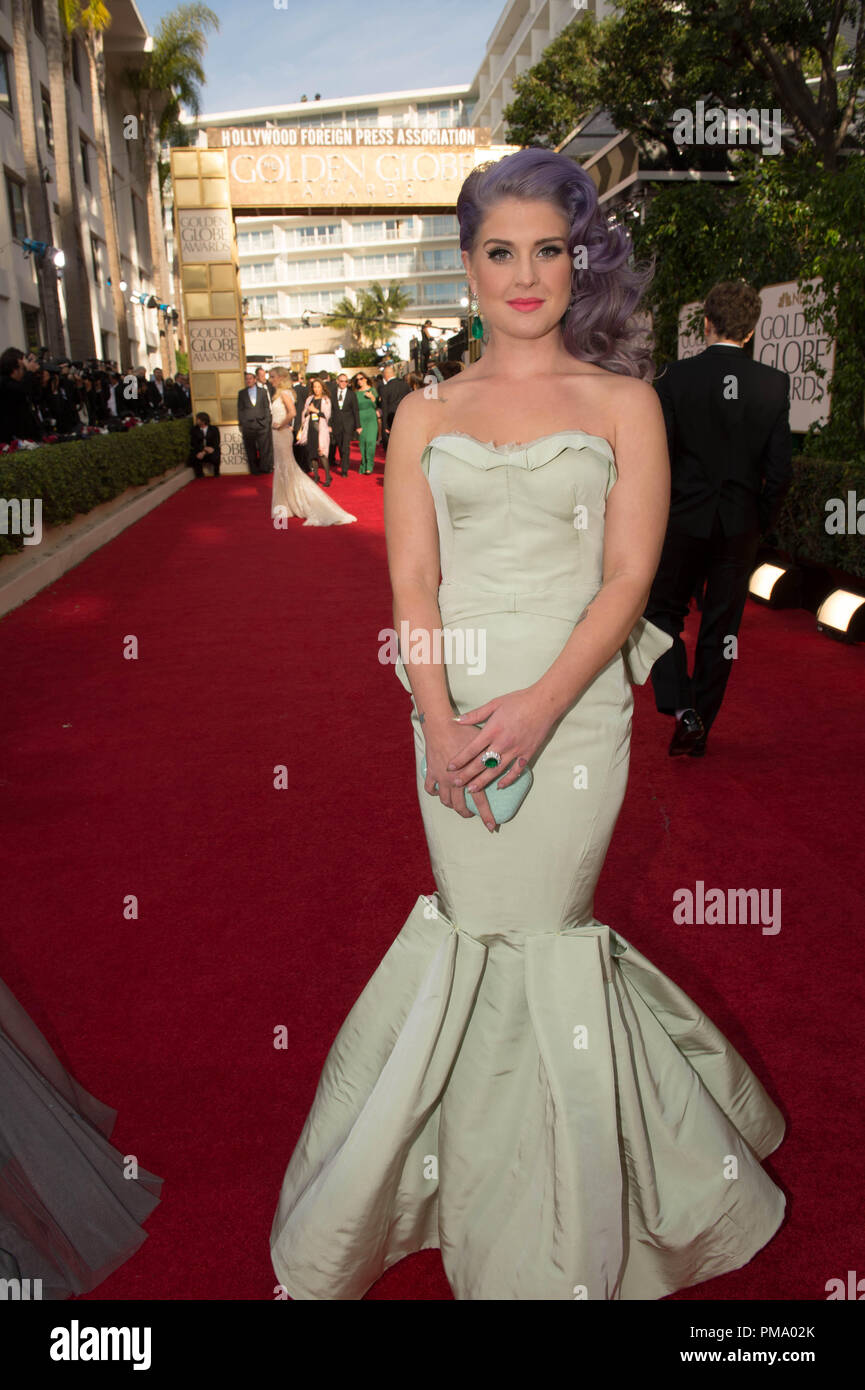 TV personality Kelly Osbourne attends the 70th Annual Golden Globes Awards at the Beverly Hilton in Beverly Hills, CA on Sunday, January 13, 2013. - Stock Image