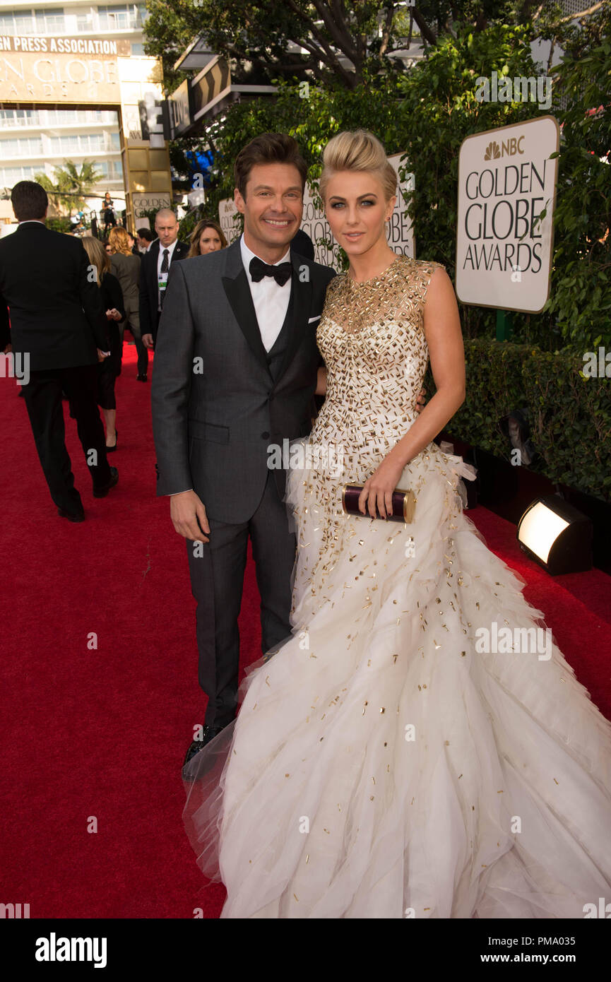TV personality Ryan Seacrest and actress Julianne Hough attend the 70th Annual Golden Globes Awards at the Beverly Hilton in Beverly Hills, CA on Sunday, January 13, 2013. - Stock Image