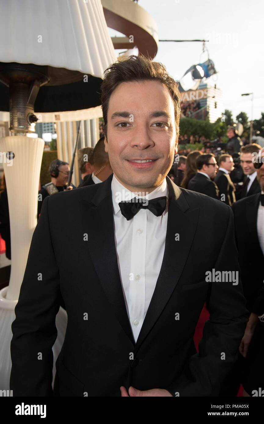 TV personality Jimmy Fallon attends the 70th Annual Golden Globes Awards at the Beverly Hilton in Beverly Hills, CA on Sunday, January 13, 2013. - Stock Image