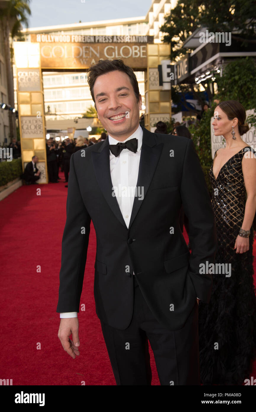 TV Personality Jimmy Fallon attend the 70th Annual Golden Globes Awards at the Beverly Hilton in Beverly Hills, CA on Sunday, January 13, 2013. - Stock Image