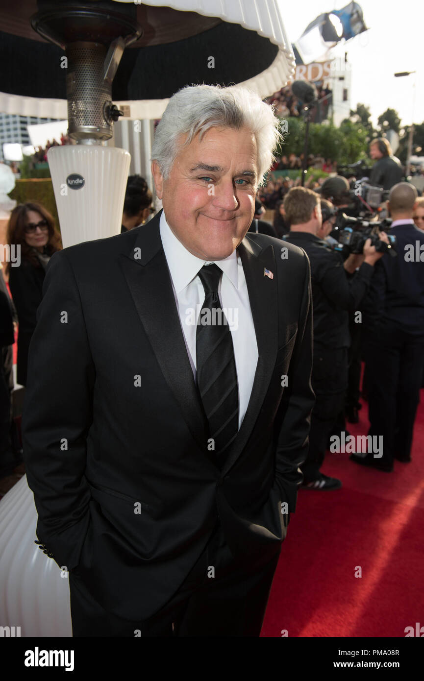 TV personality Jay Leno attends the 70th Annual Golden Globe Awards at the Beverly Hilton in Beverly Hills, CA on Sunday, January 13, 2013. - Stock Image
