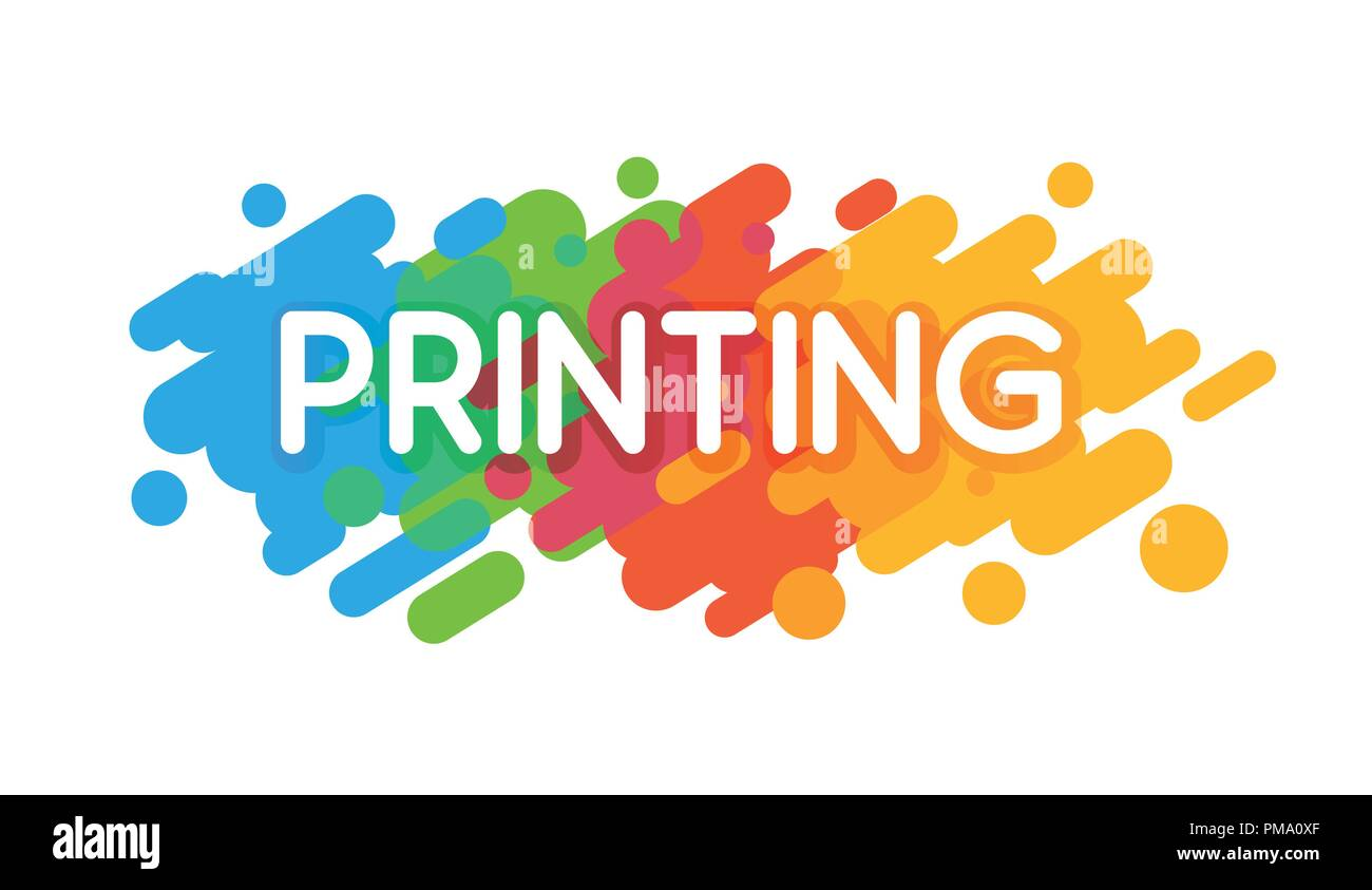 Printing Studio Logo. Vector colorful illustration on a white background in a flat style. - Stock Vector