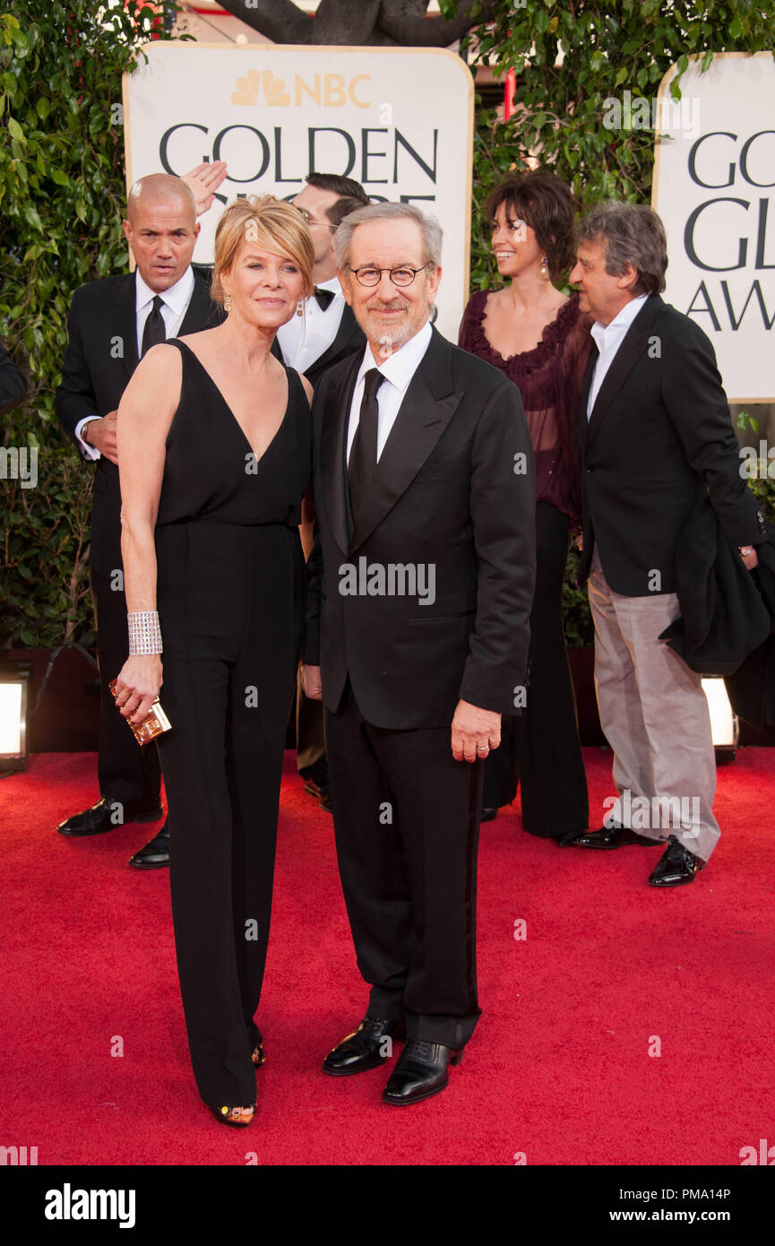 """Nominated for BEST DIRECTOR – MOTION PICTURE for """"LINCOLN"""", director Steven Spielberg attends the 70th Annual Golden Globe Awards with Kate Capshaw at the Beverly Hilton in Beverly Hills, CA on Sunday, January 13, 2013. Stock Photo"""