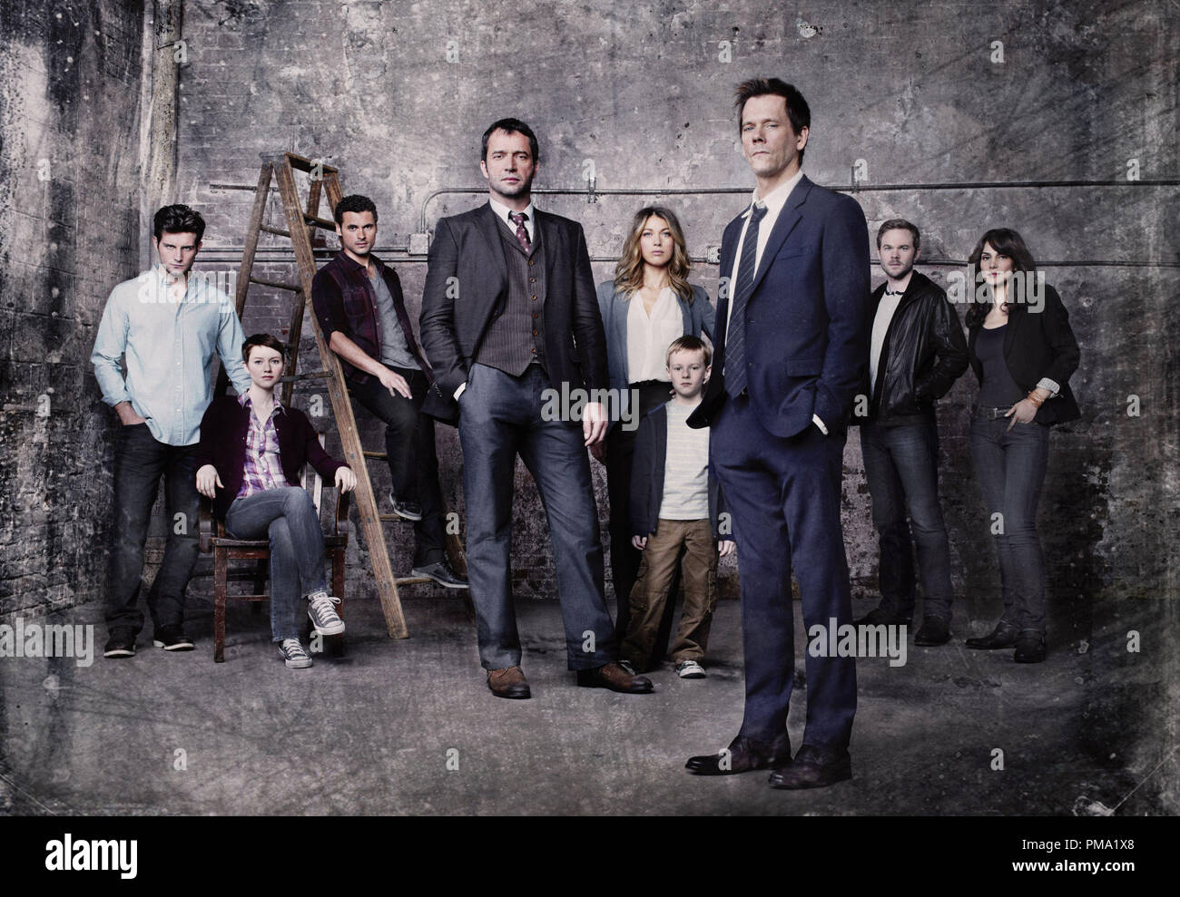 THE FOLLOWING: A fast-paced psychological thriller that follows  former FBI agent Ryan Hardy (Kevin Bacon, seventh from L), who is called out of retirement to track down a devious and diabolical serial killer (James Purefoy, fourth from L), and the mastermind behind an ever-growing web of killers in the new drama THE FOLLOWING on FOX. Pictured L-R: Nico Tortorella, Valorie Curry, Adan Canto, Natalie Zea, Kyle Catlett, Shawn Ashmore and Annie Parisse. CR: Michael Lavine/FOX - Stock Image