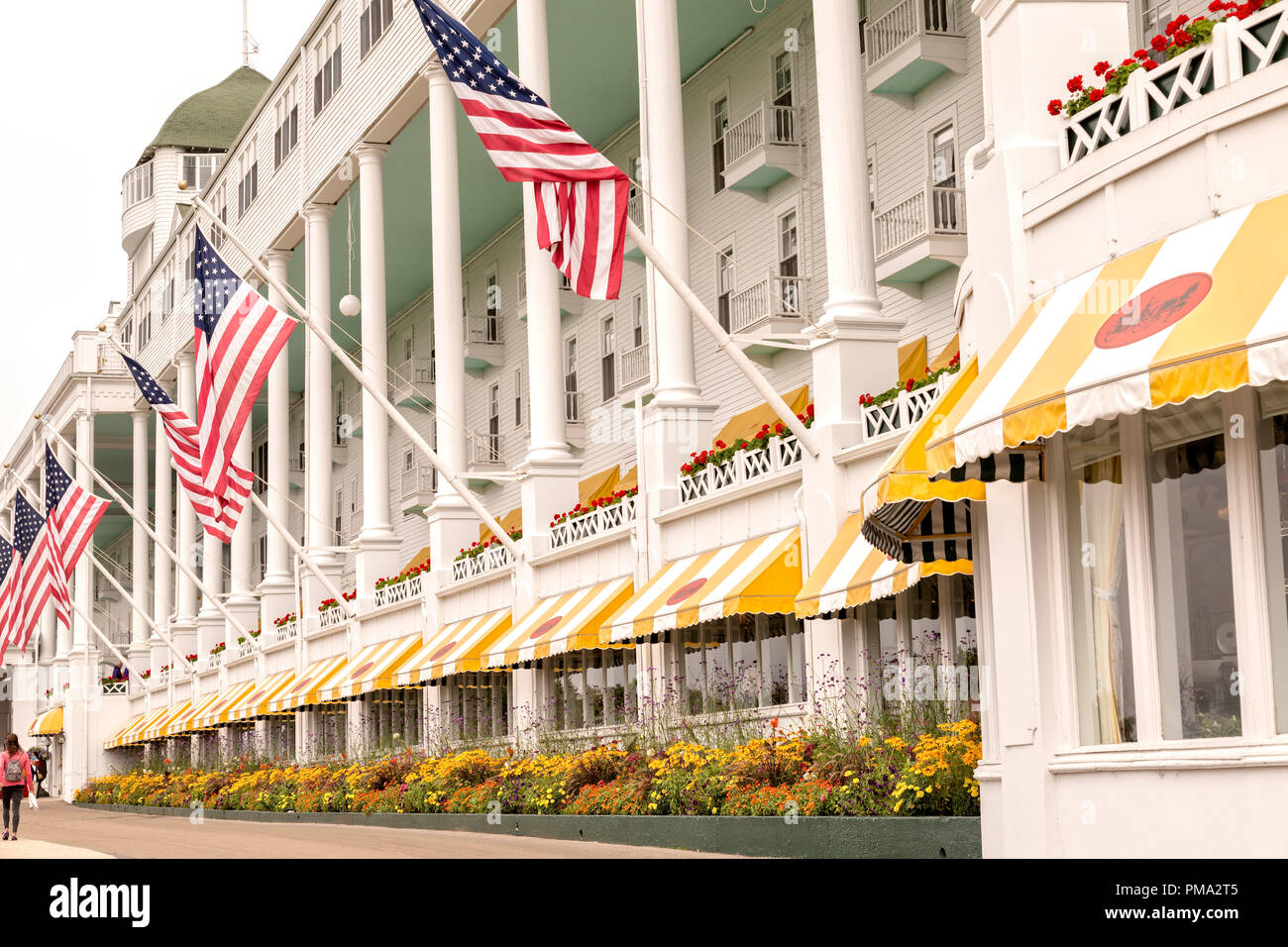 Facade of the Grand Hotel, on Mackinac Island. Popular vacation destination in the state of Michigan, USA. It has the world's largest porch. Stock Photo