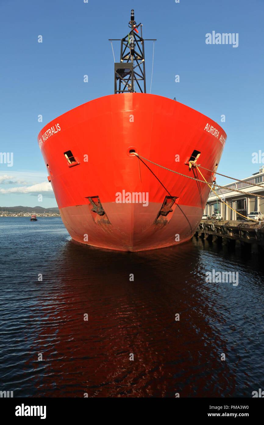 The bow of icebreaker, Aurora Australis, docked at Prince's Wharf, Hobart, Tasmania - Stock Image