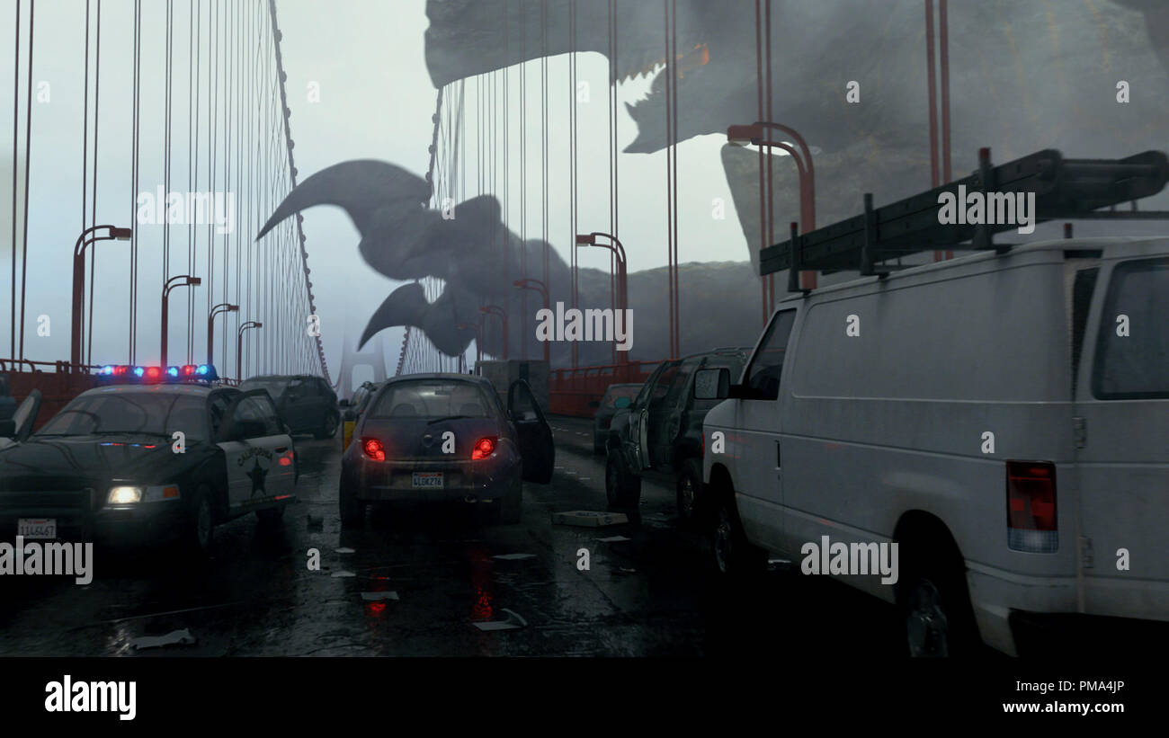 A Kaiju, code name Trespasser, attacks the Golden Gate Bridge in a scene from the sci-fi action adventure 'Warner Bros. Pictures and Legendary Pictures Pacific Rim,' a Warner Bros. Pictures release. - Stock Image