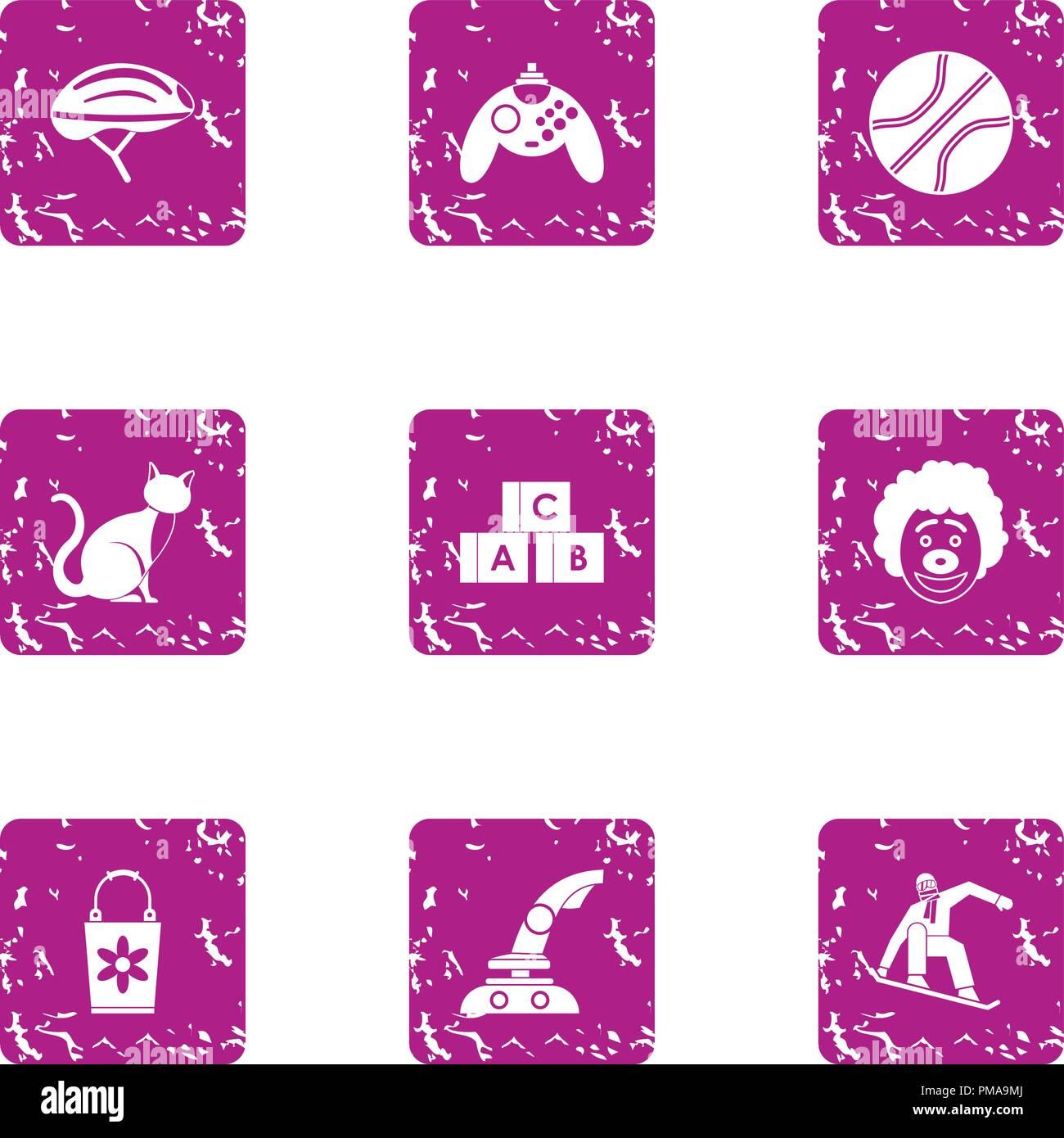 Game machine icons set, grunge style - Stock Image
