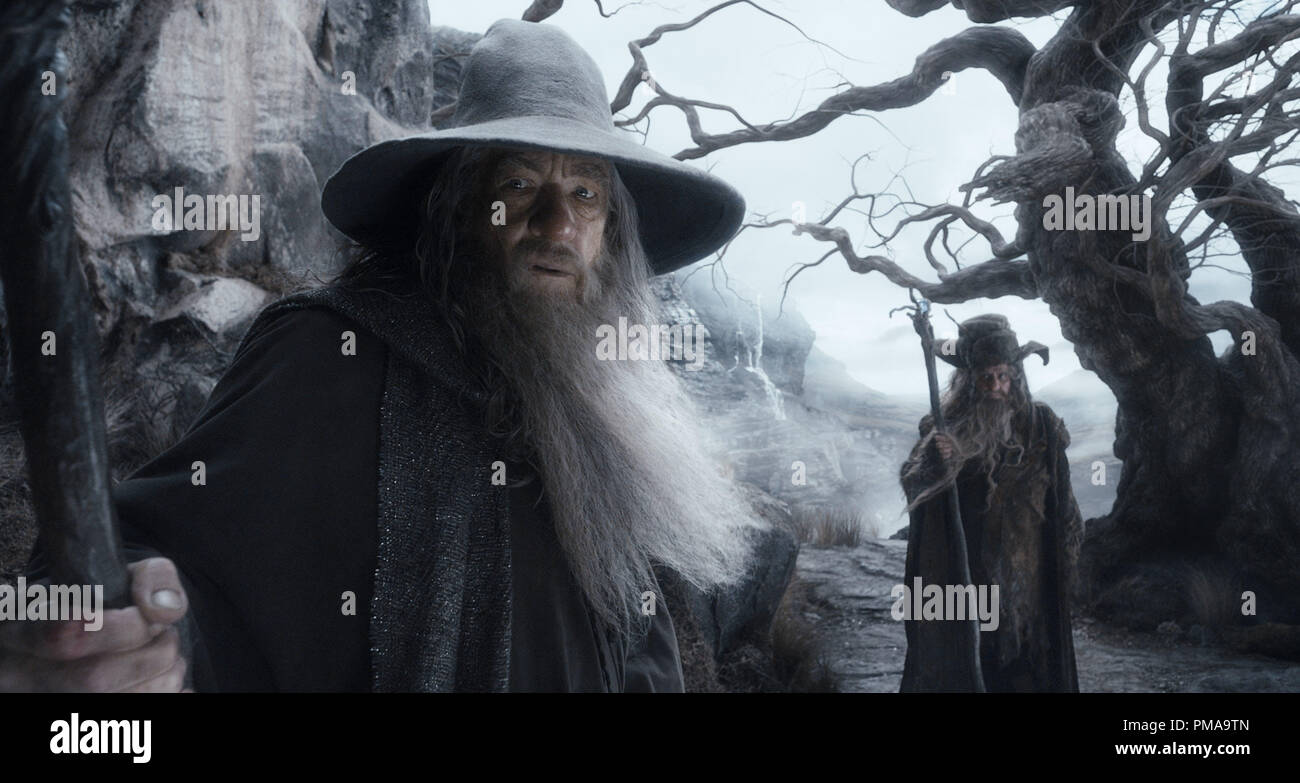 (L-r) IAN McKELLEN as Gandalf and SYLVESTER McCOY as Radagast in the fantasy adventure 'THE HOBBIT: THE DESOLATION OF SMAUG,' a production of New Line Cinema and Metro-Goldwyn-Mayer Pictures (MGM), released by Warner Bros. Pictures and MGM. - Stock Image
