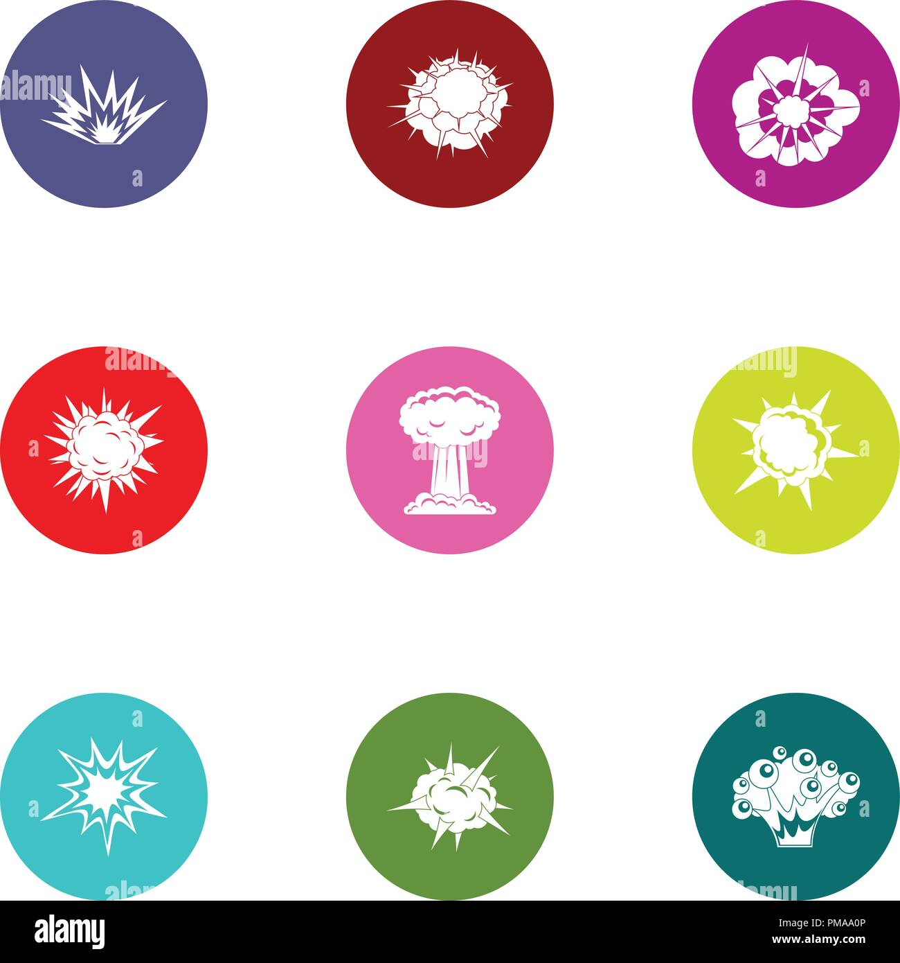 Outburst icons set, flat style Stock Vector