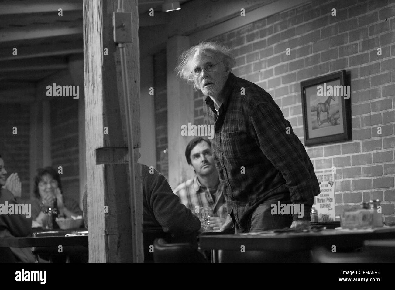 Bruce Dern (center) is Woody Grant and Will Forte (rear) is David Grant in NEBRASKA, from Paramount Vantage in association with FilmNation Entertainment, Blue Lake Media Fund and Echo Lake Entertainment. - Stock Image