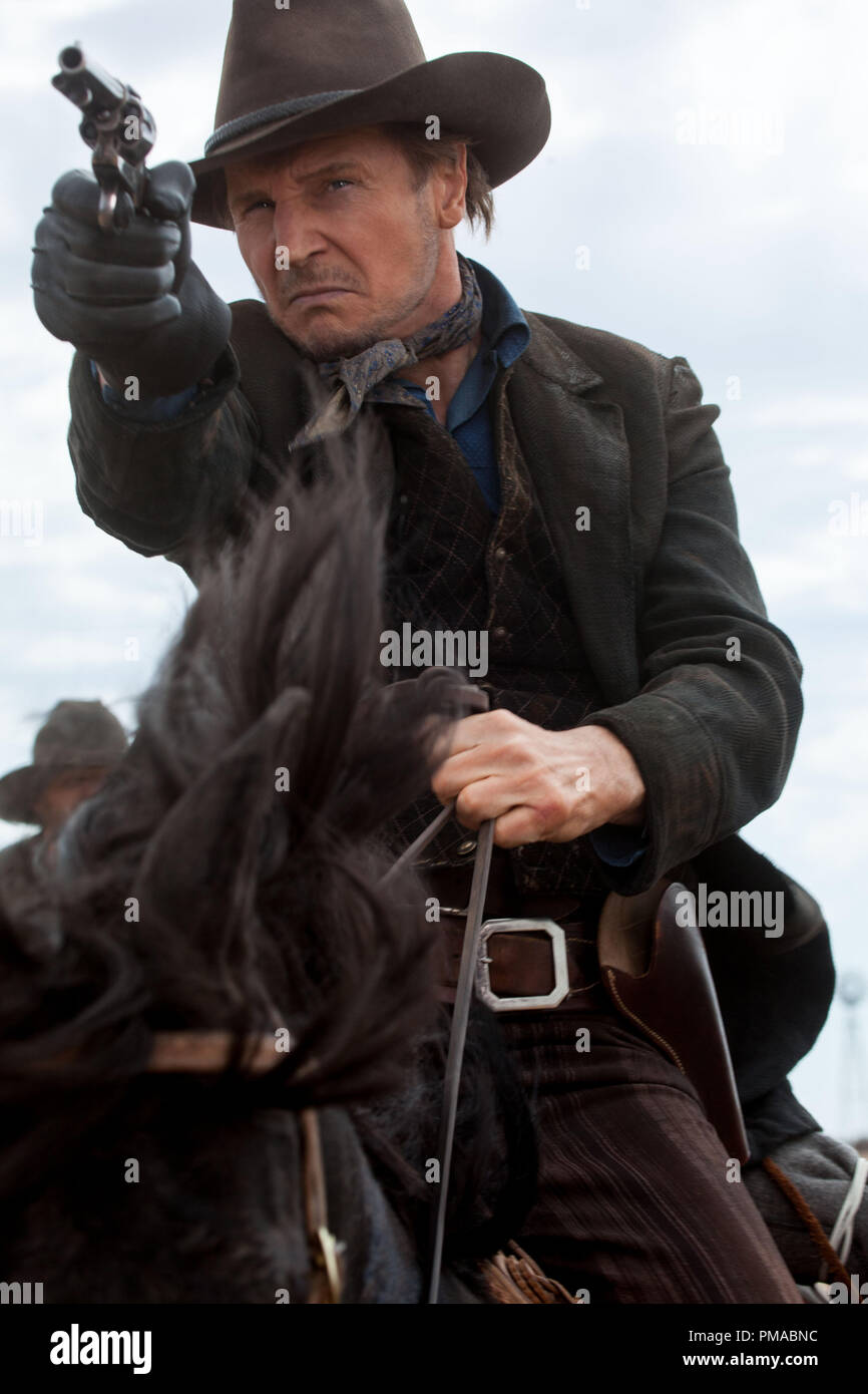 LIAM NEESON as notorious outlaw Clinch Leatherwood in 'A Million Ways to Die in the West' - Stock Image