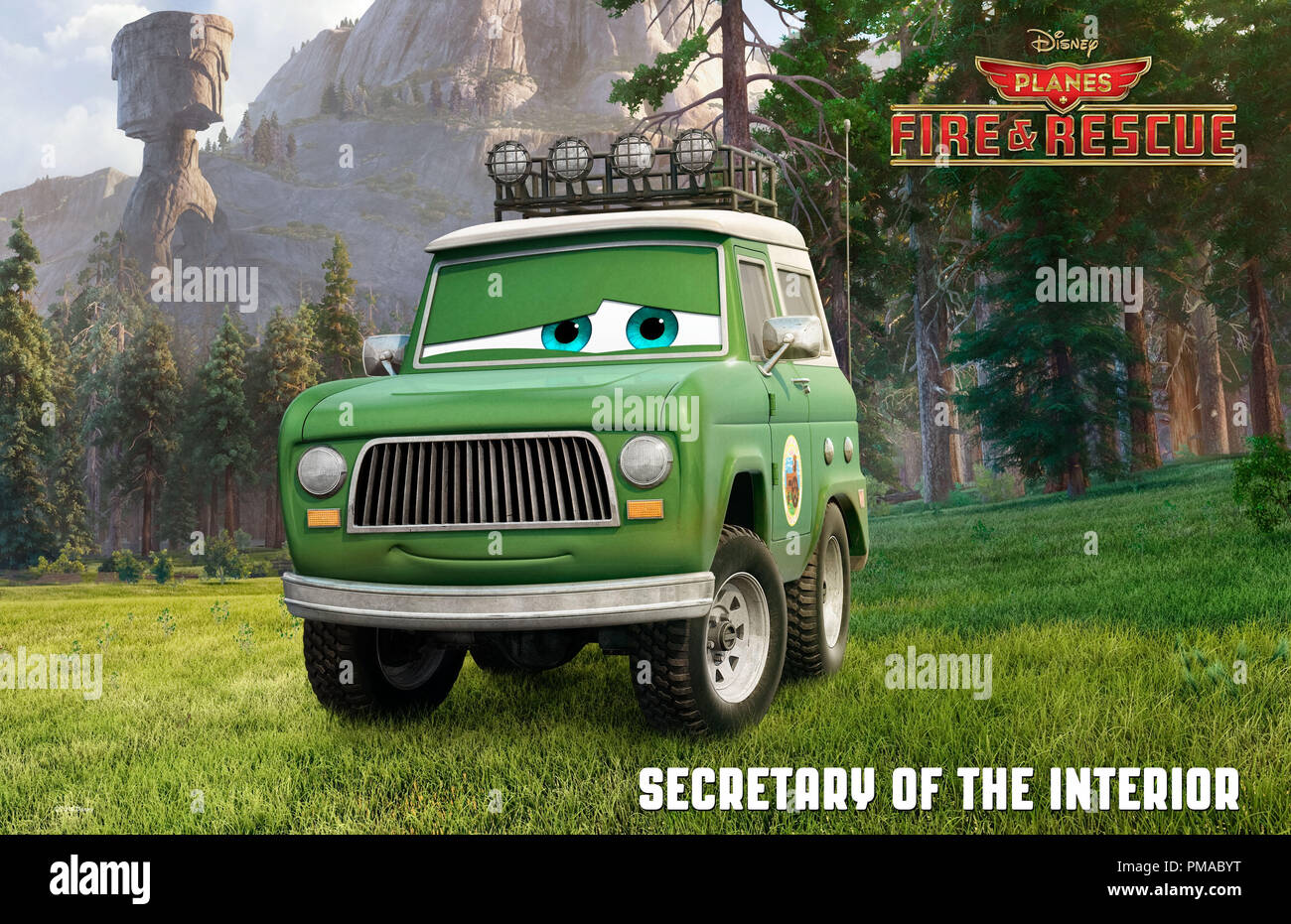 'PLANES FIRE & RESCUE' The Secretary of the Interior (voice of Fred Willard) has many responsibilities, but none is more important than overseeing the National Parks. This rugged outdoorsman loves being in nature; he spends most of his time away from his office in Washington, visiting the National Forests and Parks and helping to spread his message of conservation. © 2014 Disney Enterprises, Inc. All Rights Reserved. - Stock Image