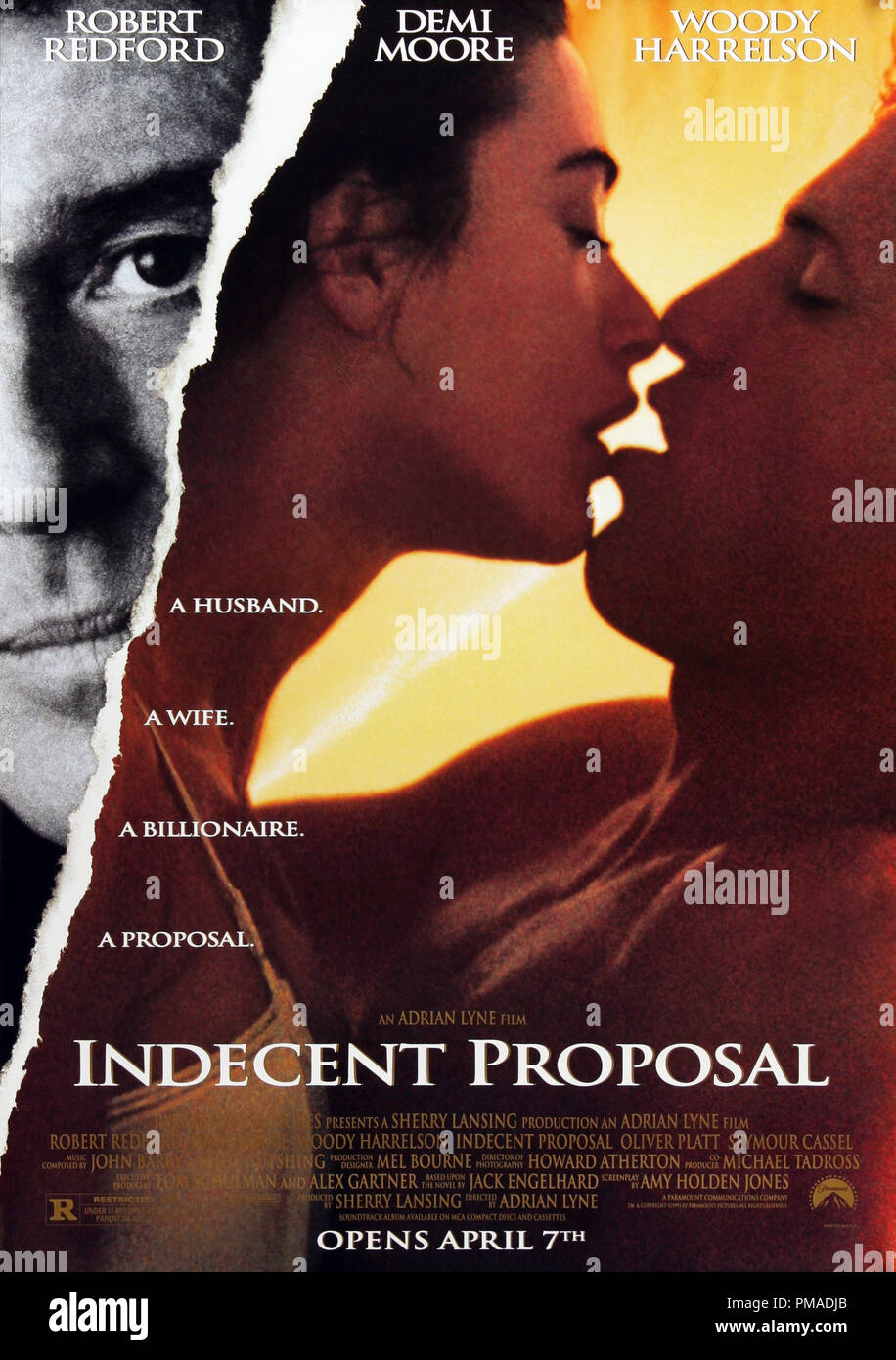 'Indecent Proposal' - US Poster 1993 Paramount Pictures  Robert Redford, Demi Moore, Woody Harrelson  File Reference # 32509_202THA - Stock Image