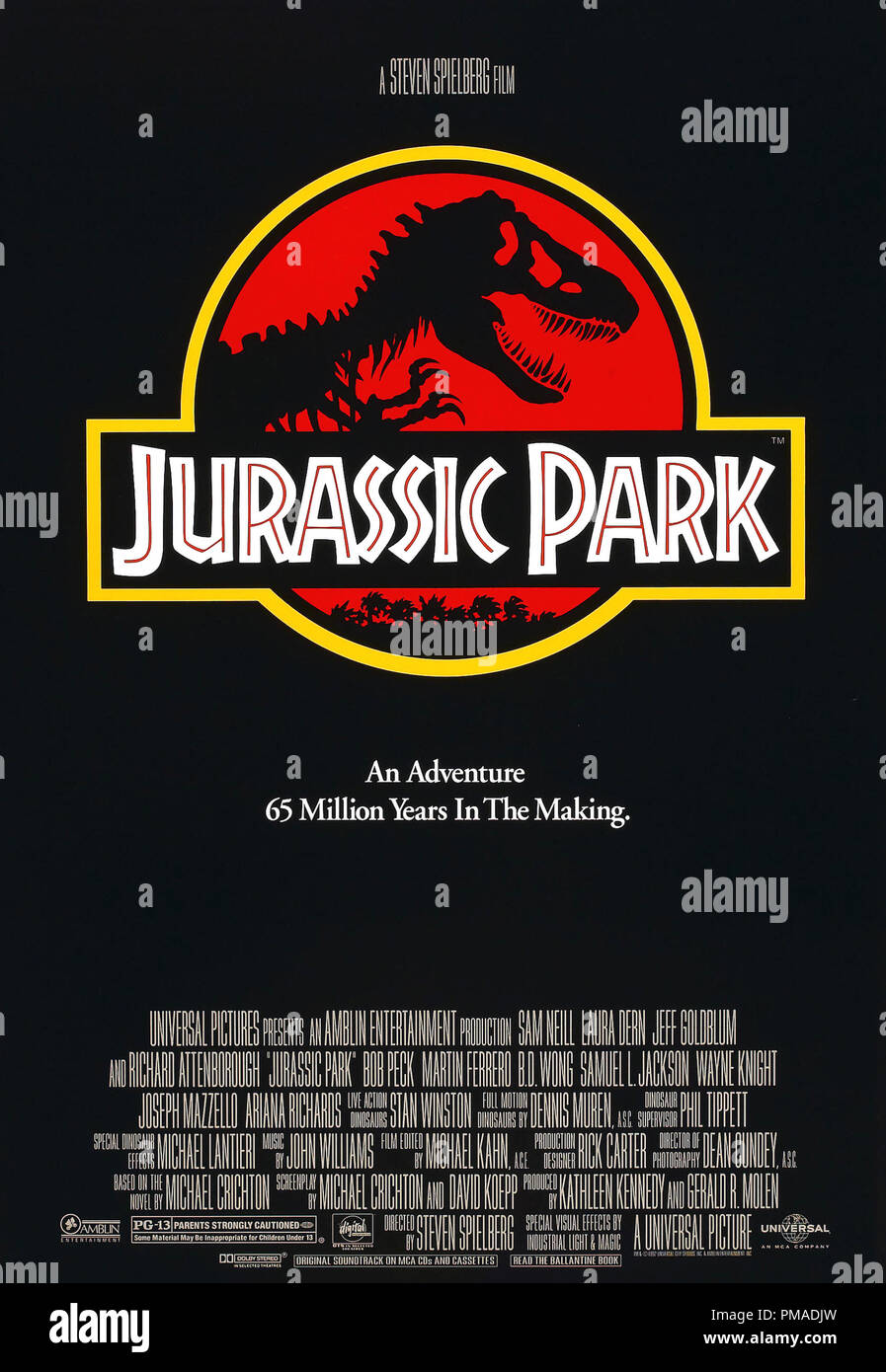 'Jurassic Park' - US Poster 1993 Universal Pictures   File Reference # 32509_214THA - Stock Image