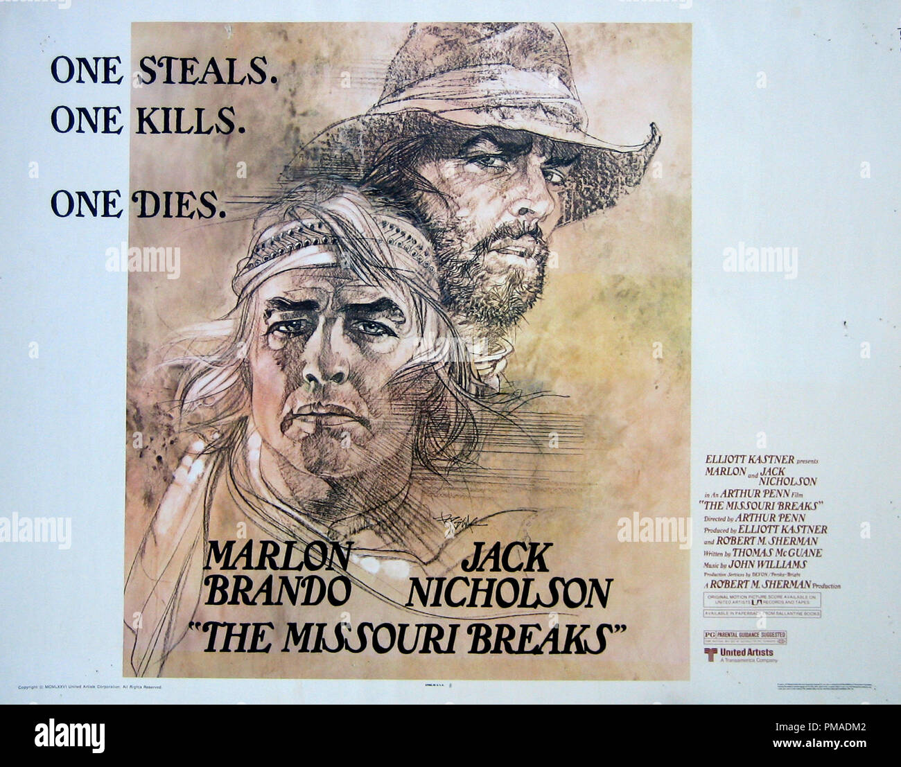 'The Missouri Breaks' - US Poster 1976 United Artists  Marlon Brando, Jack Nicholson  File Reference # 32509_249THA - Stock Image
