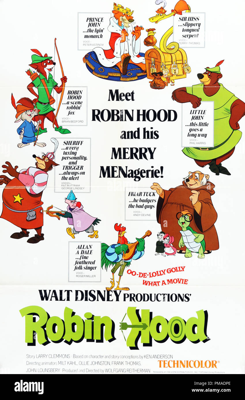 Robin Hood Us Poster 1973 Walt Disney Productions File Reference