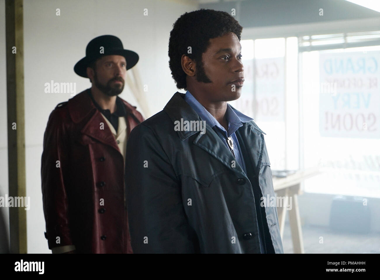 FARGO -- 'Before The Law' -- Episode 202 (Airs October 19, 10:00 pm e/p) Pictured: (l-r) Brad Mann as Gale Kitchen, Bokeem Woodbine as Mike Milligan. - Stock Image