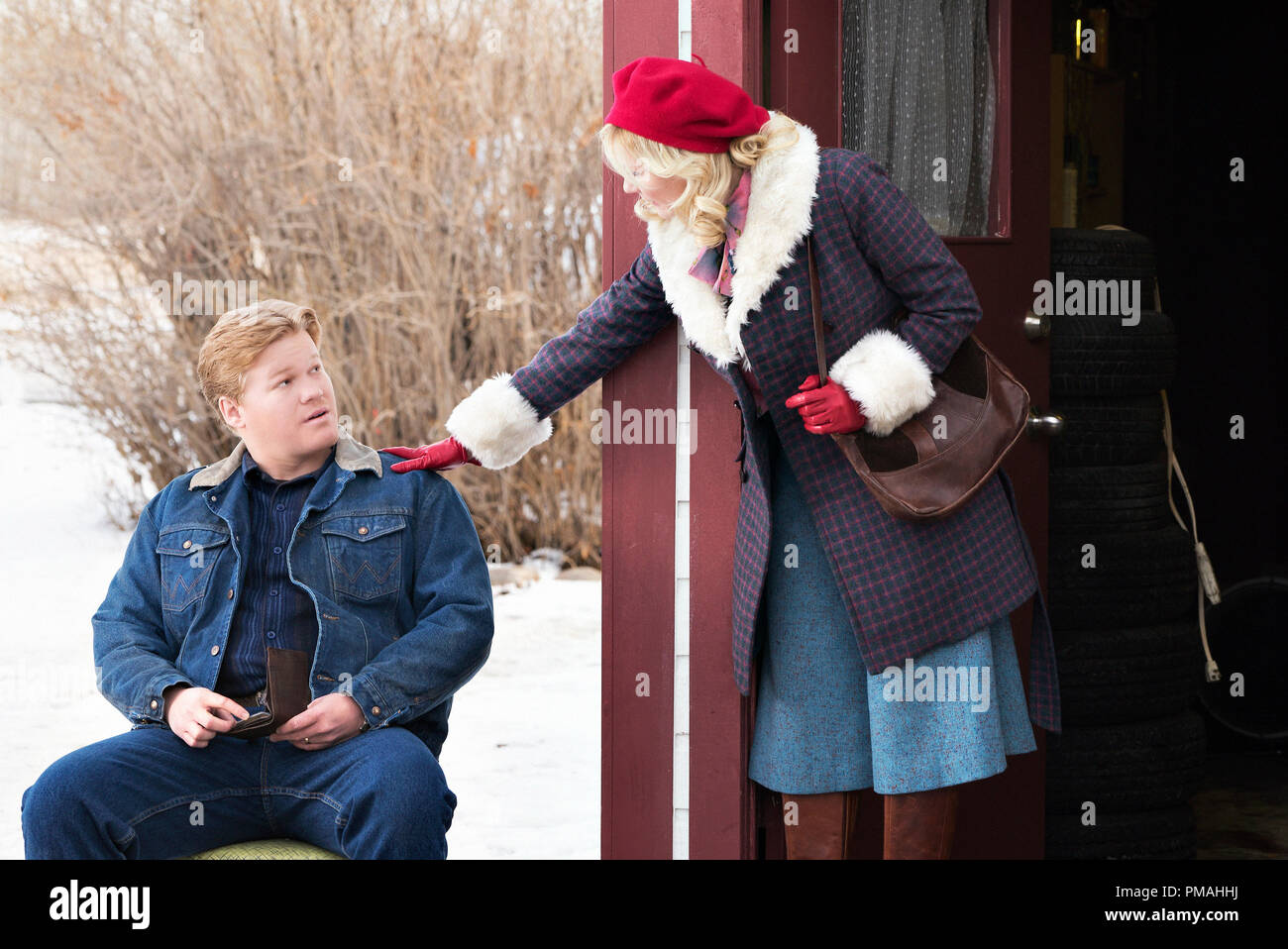 """FARGO -- """"Before The Law"""" -- Episode 202 (Airs October 19, 10:00 pm e/p) Pictured: (l-r) Jesse Plemons as Ed Blumquist, Kirsten Dunst as Peggy Blumquist. - Stock Image"""