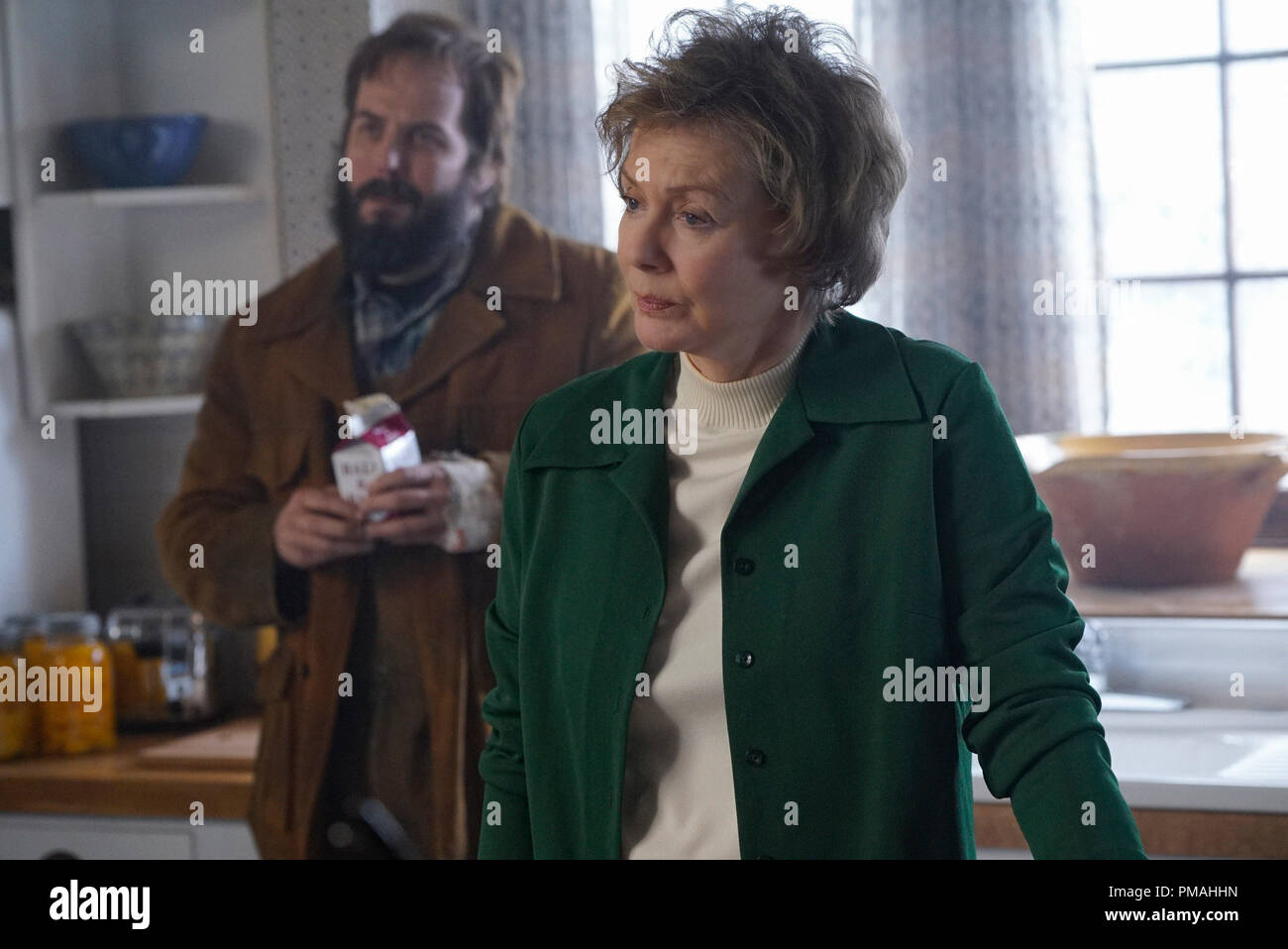 FARGO -- 'Before The Law' -- Episode 202 (Airs October 19, 10:00 pm e/p) Pictured: (l-r) Angus Sampson as Bear Gerhardt, Jean Smart as Floyd Gerhardt. - Stock Image