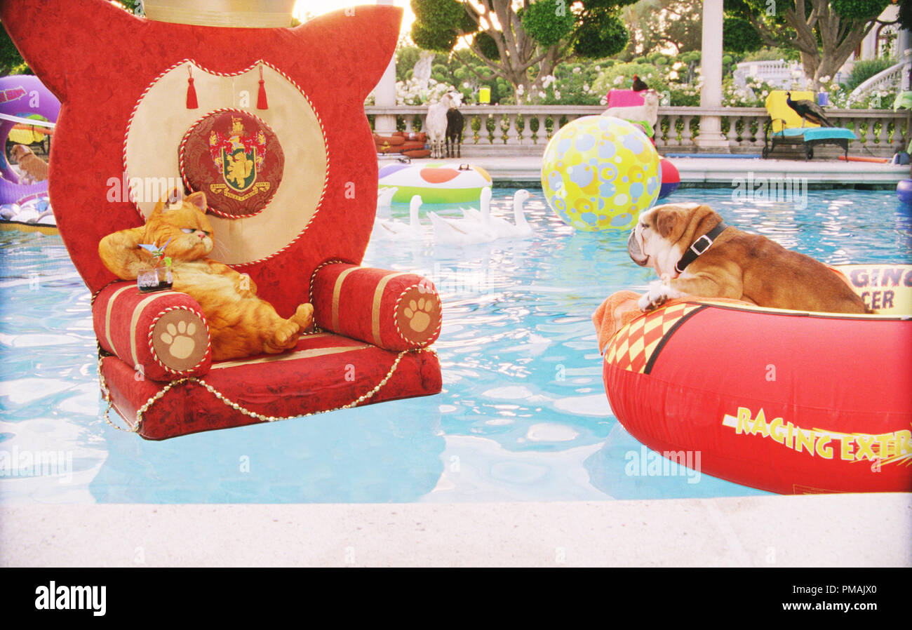 Garfield And Winston Enjoy A Leisurely Afternoon In The Castle Pool Garfield A Tail Of Two Kitties 2006 Twentieth Century Fox Stock Photo Alamy