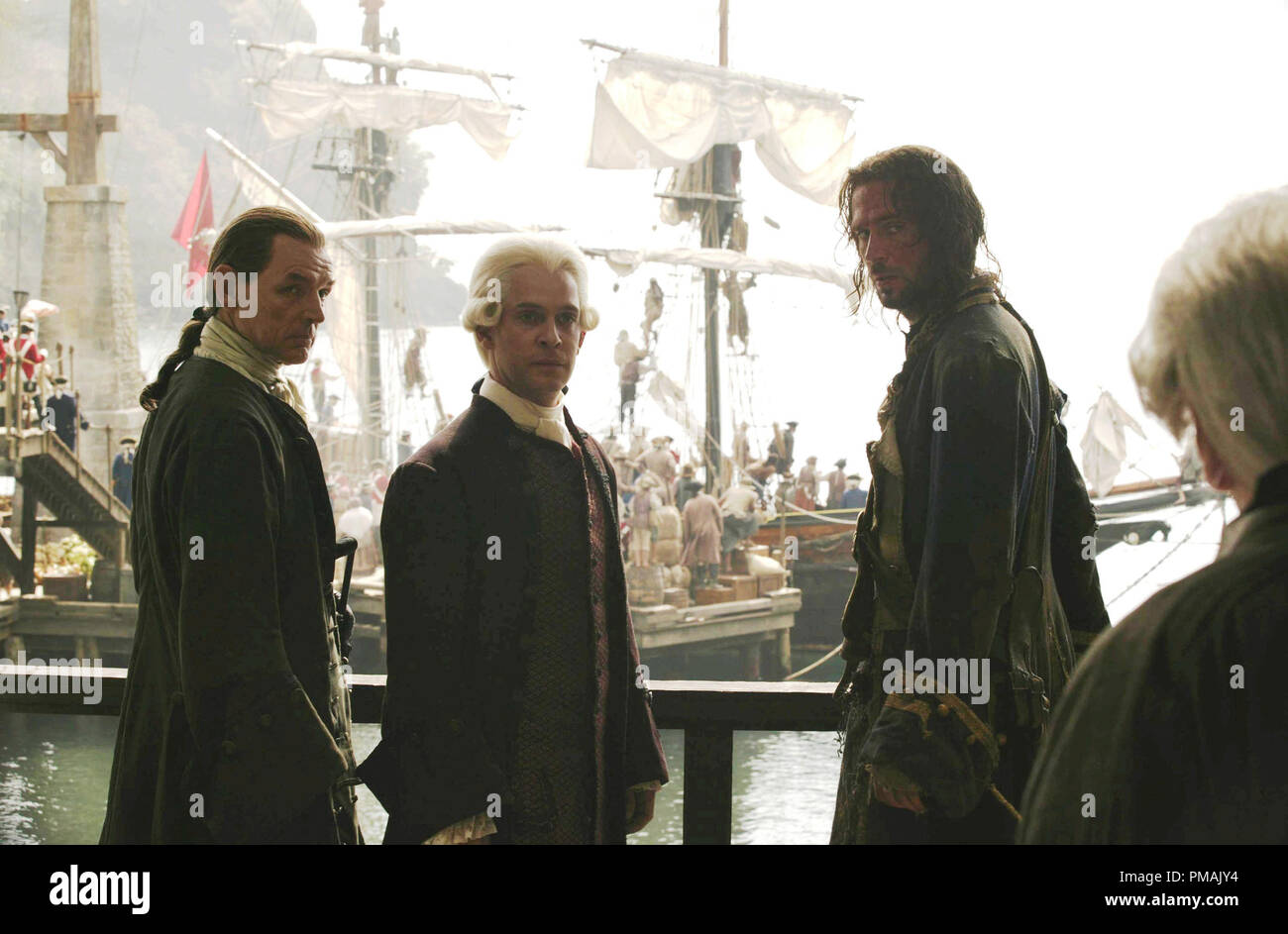 David Schofield, Tom Hollander and Jack Davenport  'Pirates of the Caribbean: Dead Man's Chest' (2006) Disney Enterprises, Inc.  All rights reserved - Stock Image