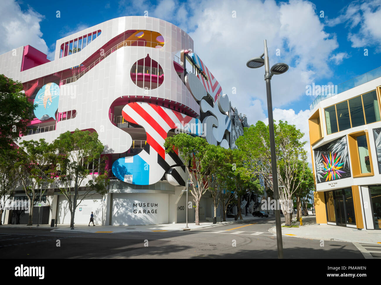 "MIAMI - SEPTEMBER, 2018: The facade of the Museum Garage, an eye-catching example of local ""parkitecture"", at an intersection in the Design District. Stock Photo"
