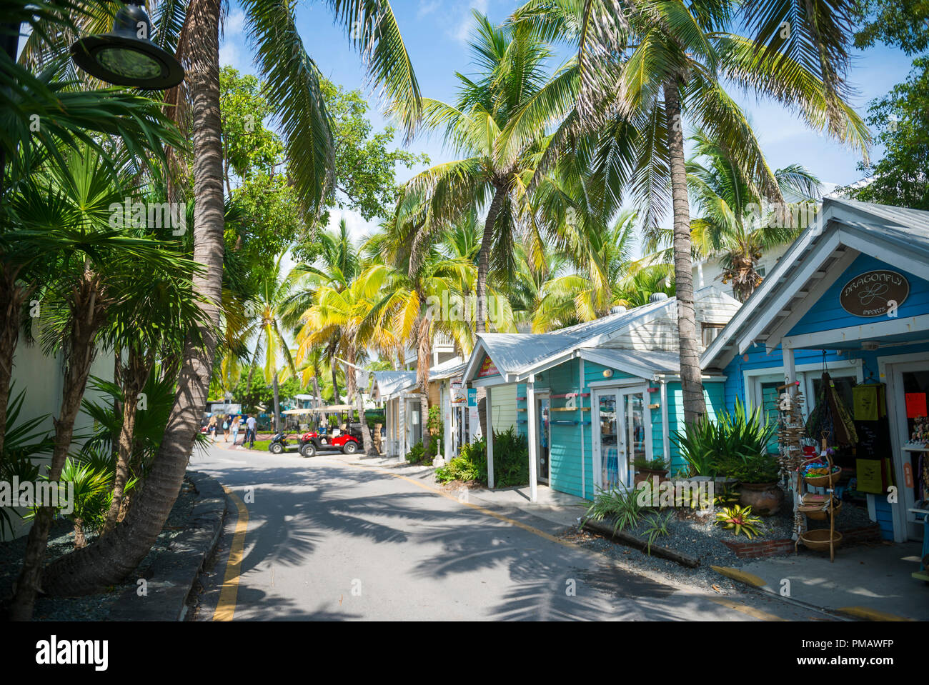 KEY WEST, USA - CIRCA SEPTEMBER, 2018: Quaint palm and shack lined waterfront street - Stock Image