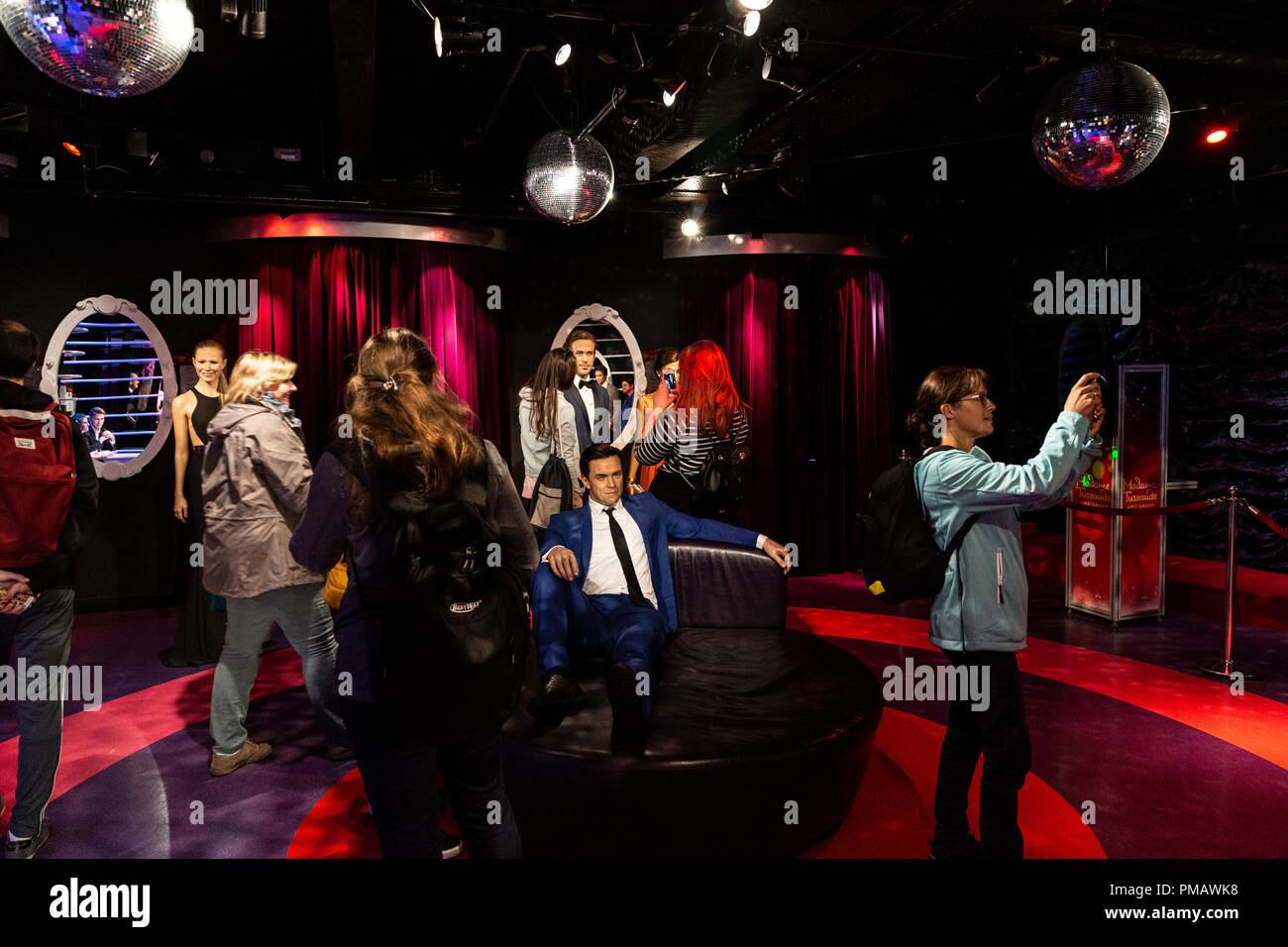 Interior of Madame Tussauds Wax museum in Amsterdam, Netherlands - Stock Image