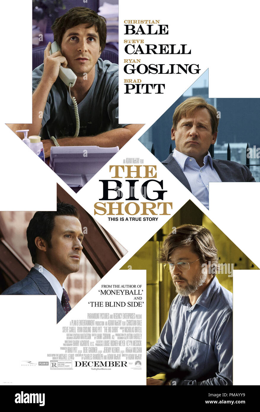 The Big Short from Paramount Pictures and Regency Enterprises - Poster - Stock Image