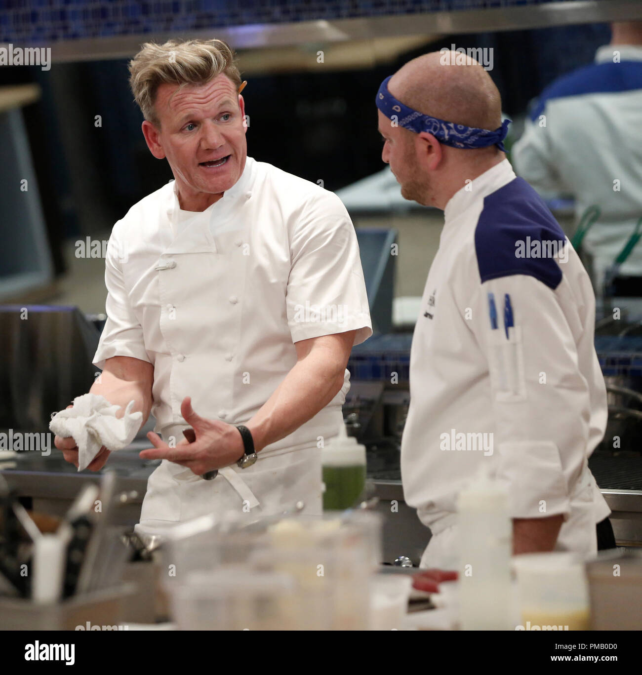 Hell S Kitchen L R Gordon Ramsay And Contestant Jared In