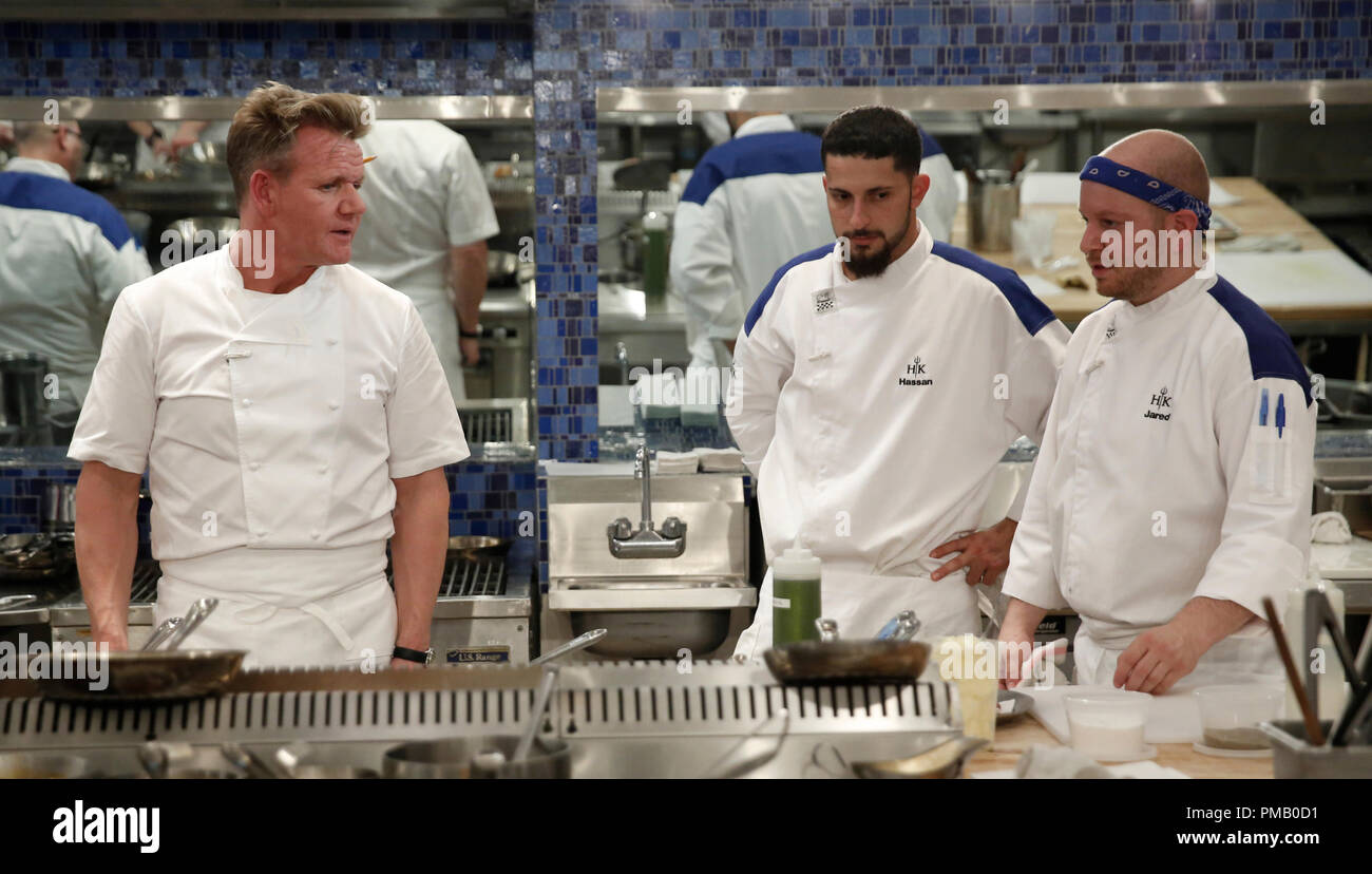 Hell S Kitchen L R Gordon Ramsay And Contestants Hassan