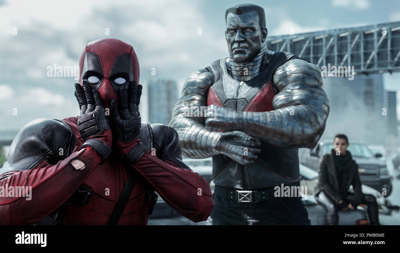 'Deadpool' -  Deadpool (Ryan Reynolds) reacts to Colossus' (voiced by Stefan Kapicic) threats. - Stock Image