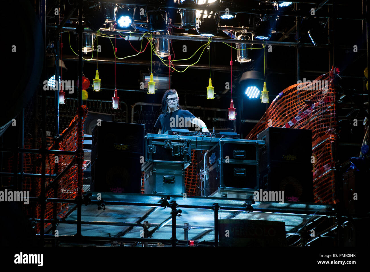 Skrillex plays 'Old and Lame Show' DJ in Zoolander 2 from Paramount Pictures. - Stock Image