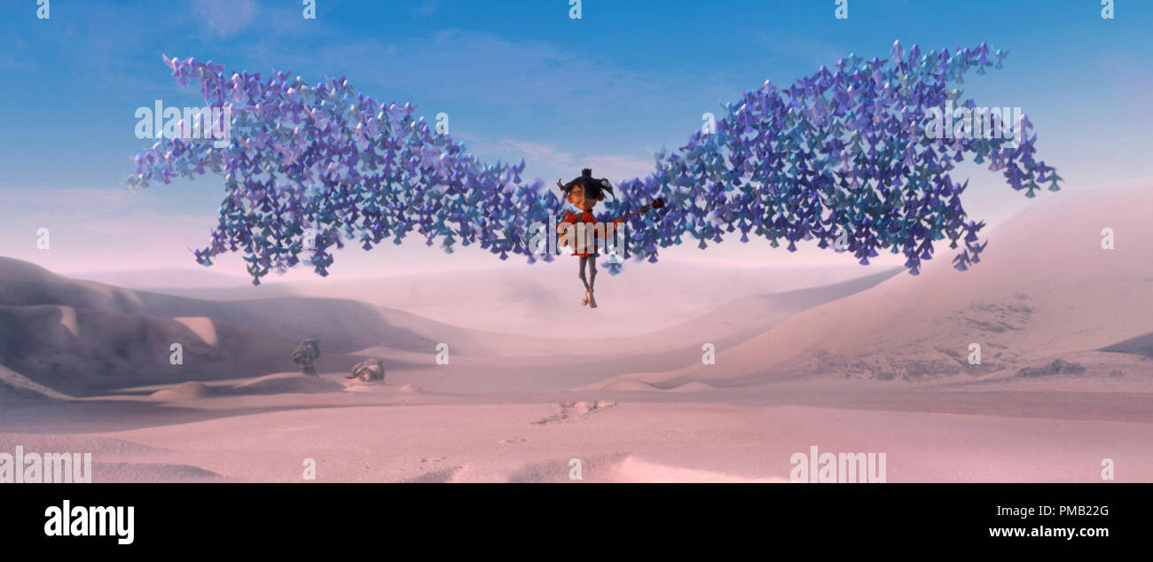 Kubo (voiced by Art Parkinson) is swept up by origami wings in animation studio LAIKA's epic action-adventure KUBO AND THE TWO STRINGS, a Focus Features release.  (2016) Focus Features - Stock Image