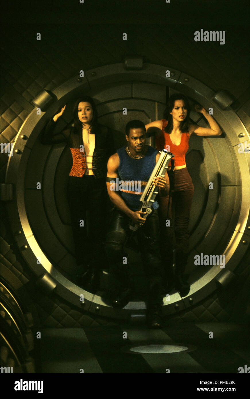 (left to right) Melyssa Ade, Derwin Jordan and Lexa Doig star in New Line Cinema's, Jason X. (2002) - Stock Image