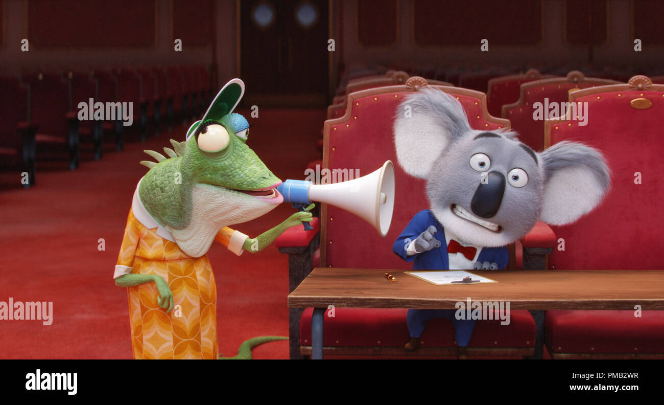 Academy Award® winner MATTHEW MCCONAUGHEY stars as dapper koala Buster Moon and writer/director GARTH JENNINGS voices elderly lizard Miss Crawly in the event film 'Sing,' from Illumination Entertainment and Universal Pictures. (2016) - Stock Image