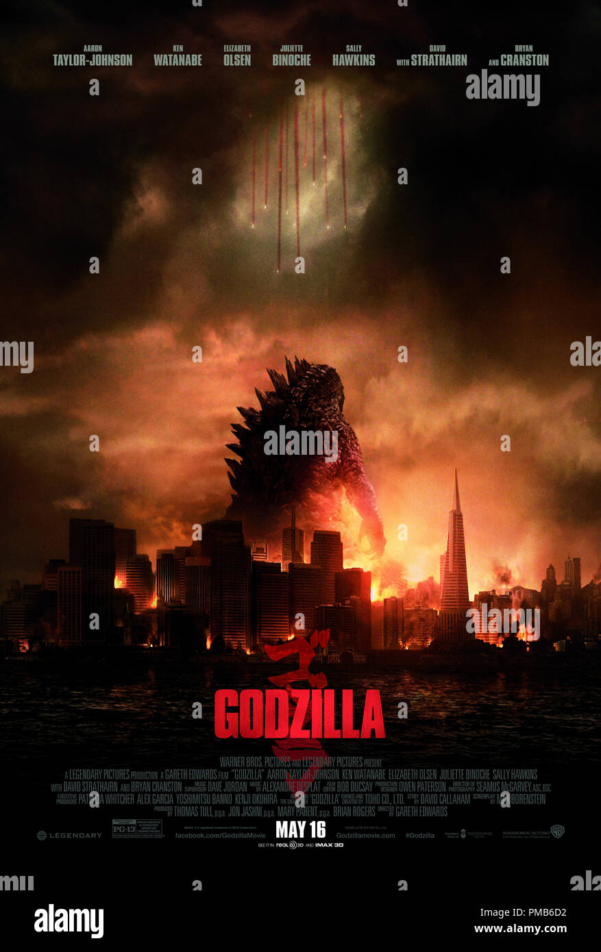 Warner Bros. Pictures' and Legendary Pictures' sci-fi action adventure 'GODZILLA,' a Warner Bros. Pictures release. Poster - Stock Image
