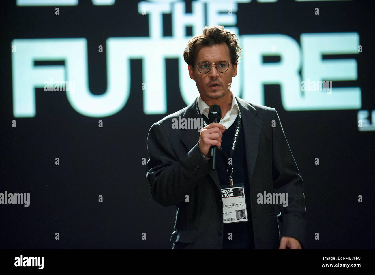 """JOHNNY DEPP as Will Caster in Alcon Entertainment's sci-fi thriller """"TRANSCENDENCE,"""" a Warner Bros. Pictures release. Stock Photo"""