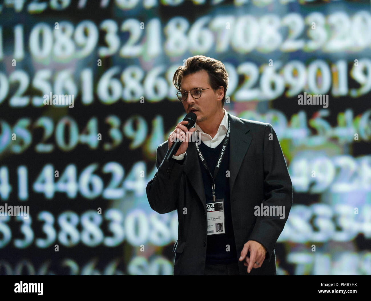 JOHNNY DEPP as Will Caster in Alcon Entertainment's sci-fi thriller 'TRANSCENDENCE,' a Warner Bros. Pictures release. - Stock Image